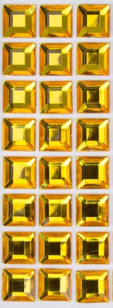 Glitzersteine gold, 15 x 15 x 3 mm, selbstklebend